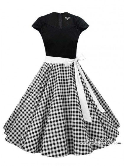 "Robe Rockabilly Vintage Pin-Up Rock Ange'Hell ""Ellen Black Vichy"" - rockangehell.com"