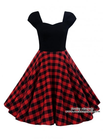 "Robe Rockabilly Pin-Up Retro Rock Ange'Hell ""Adda Red Check"" - rockangehell.com"