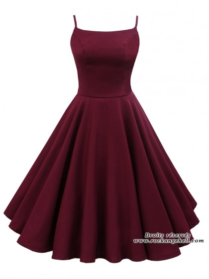 "Robe Rockabilly Retro Pin-Up Rock Ange'Hell ""Jane Burgundy"" - rockangehell.com"