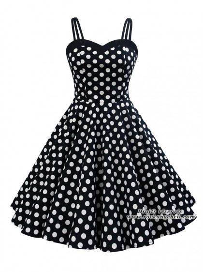 "Robe Pin-Up Années 50 Rockabilly Rock Ange'Hell ""Candy Big White Dots""- rockangehell.com"