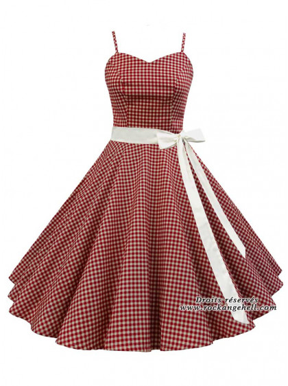 "Robe Années 50 Pin-Up Rockabilly Rock Ange'Hell ""Vivien Red Vichy"" - rockangehell.com"