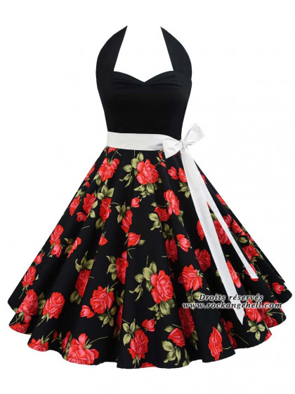 "Robe Rockabilly Vintage Pin-Up Rock Ange'Hell ""Vivien Black Red Roses"" - rockangehell.com"