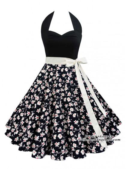 "Robe Rockabilly Pin-Up Retro Rock Ange'Hell ""Vivien Black Cream Flowers"" - rockangehell.com"