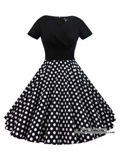 "Robe Rockabilly Vintage Pin-Up Rock Ange'Hell ""Sonia Black Big white Dots"" - rockangehell.com"