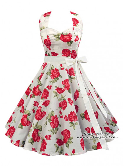 "Robe Rockabilly Pin-Up Vintage Rock Ange'Hell ""Vivien White Red Roses""- rockangehell.com"