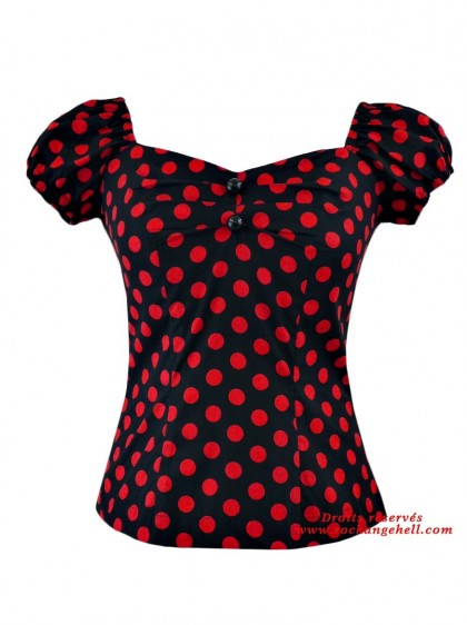 "Tee-shirt Pin-Up Rockabilly Retro Rock Ange'Hell ""Dolores Black Big Red Dots"" - rockangehell.com"