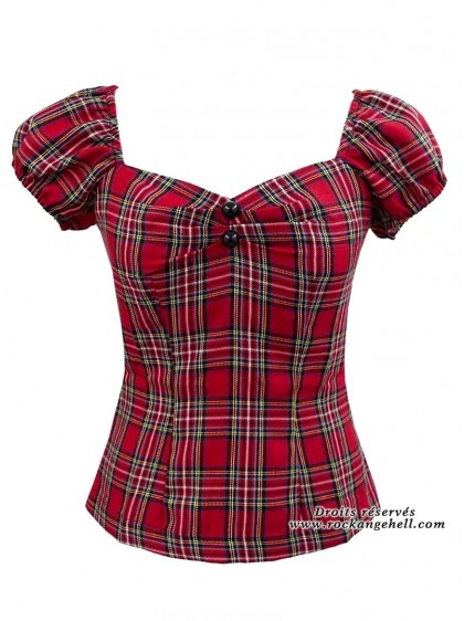 "Tee-shirt Punk Rock Rockabilly Rock Ange'Hell ""Dolores Red Tartan"" - rockangehell.com"