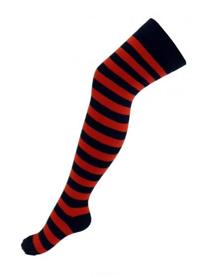 Chaussettes montantes Rock Punk Gothque larges rayures rouge/noir