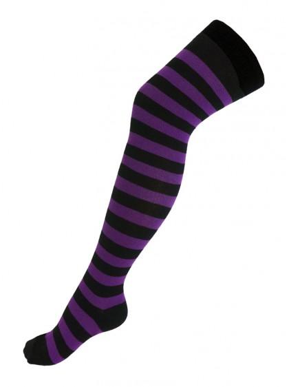 Chaussettes montantes larges rayures noires/violettes