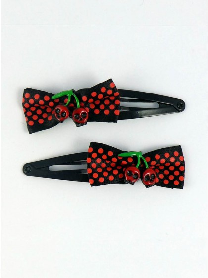 "Barrettes Cheveux Rockabilly Gothiques Daddy ""Cherry Skull"""