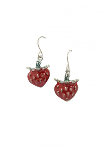 "Boucles d'oreilles Fraises Rockabilly Retro Pin-Up ""Strawberry"" - rockangehell.com"