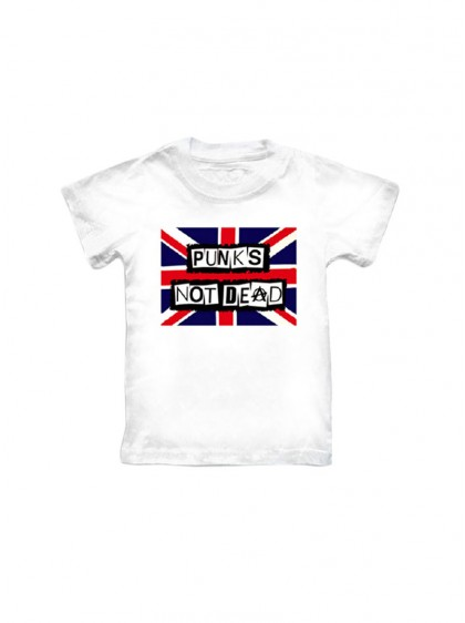 "Tee-shirt blanc punk ENFANT Rock Daddy ""Flag Punks Not Dead"""