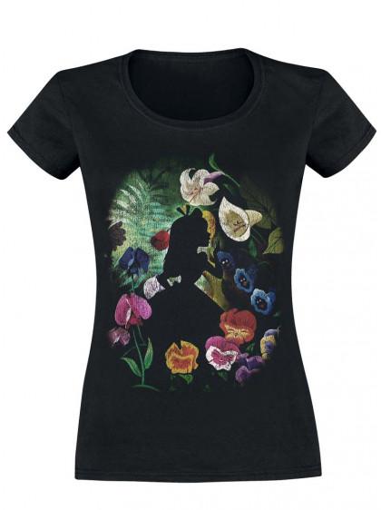 "Tee-Shirt Disney Alice au Pays des Merveilles ""Black Flower"" - rockangehell.com"