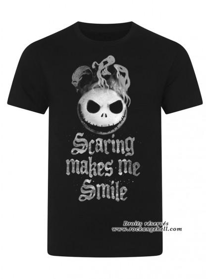 "Tee-Shirt Homme Disney L'Étrange Noël de Monsieur Jack ""Scaring Makes Me Smile"" - rockangehell.com"