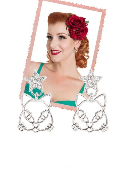 "Boucles d'oreille Rockabilly Vintage Voodoo Vixen ""Star Kitty"" - rockangehell.com"