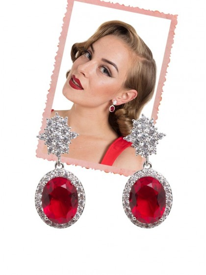 "Boucles d'oreille Rockabilly Pin-Up Voodoo Vixen ""Heart Of the Ocean Evening"" - rockangehell.com"