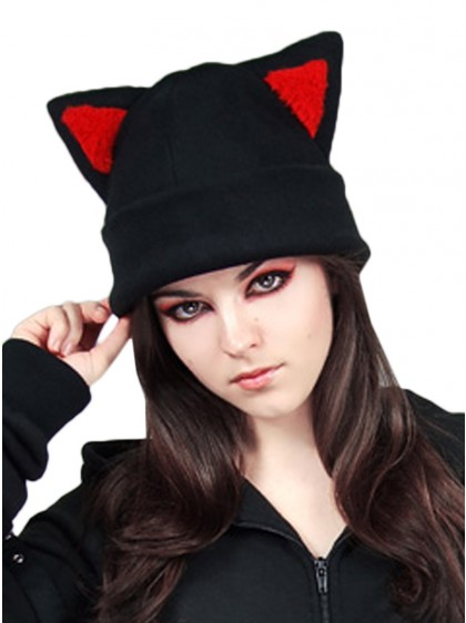 "Bonnet Chat Rock Gothique Kawaii ""Red Ears Cat"" - rockangehell.com"