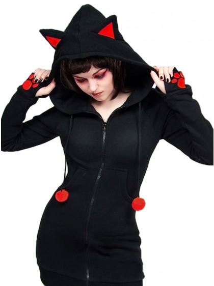 "Sweat Chat Rock Gothique Kawaii ""Red Cat"" - rockangehell.com"
