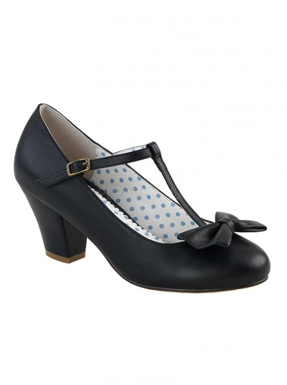"Chaussures Escarpins Retro Rockabilly Pin-Up Couture ""Wiggle Black"" - rockangehell.com"