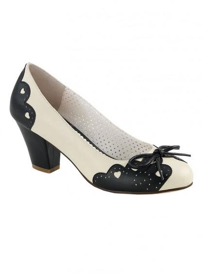 "Chaussures Escarpins Années 50 Rockabilly Pin-Up Couture ""Wiggle Cream"" - rockangehell.com"