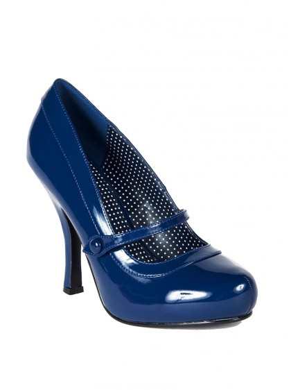 "Chaussures Escarpins Vintage Retro Rockabilly Pin Up Couture ""Cutie Blue"" - rockangehell.com"