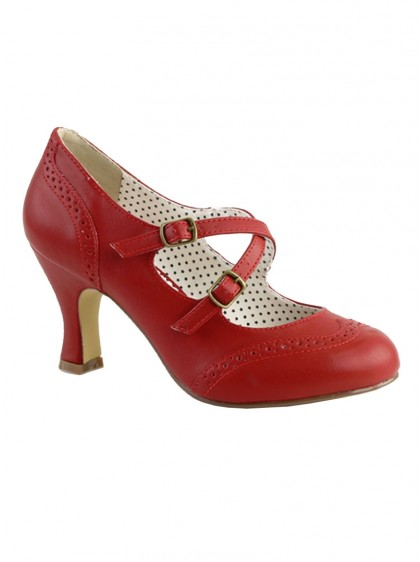 "Chaussures Escarpins Rockabilly Vintage Pin Up Couture ""Flapper Red Crossed"" - rockangehell.com"