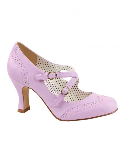 "Chaussures Escarpins Retro Rockabilly Pin Up Couture ""Flapper Parme Crossed"" - rockangehell.com"