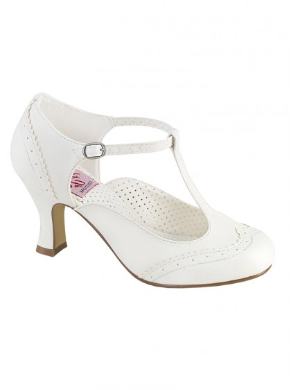 "Chaussures Escarpins Rockabilly Années 50 Pin Up Couture ""Flapper White"" - rockangehell.com"