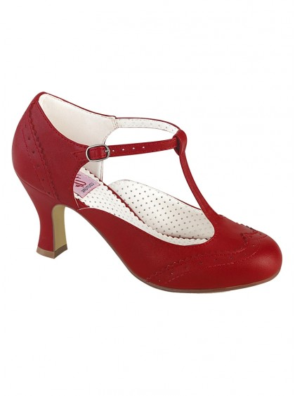 "Chaussures Escarpins Vintage Rockabilly Retro Pin Up Couture ""Flapper Red"" - rockangehell.com"