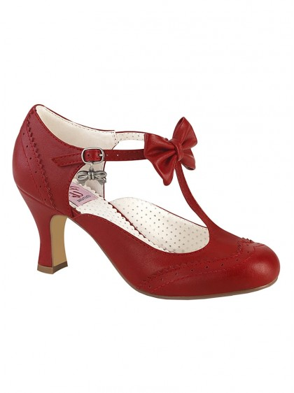 "Chaussures Escarpins Retro Vintage Rockabilly Pin Up Couture ""Flapper Bow Red""- rockangehell.com"