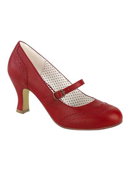 "Chaussures Escarpins Rockabilly Vintage Pin Up Couture ""Flapper 32 Red"" - rockangehell.com"
