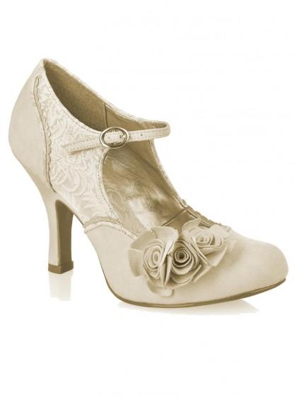 "Chaussures Escarpins Mariage Soirée Retro Vintage Rockabilly Ruby Shoo ""Emily Gold Cream"" - rockangehell.com"