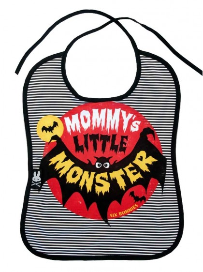 "Bavoir Rock Metal Six Bunnies ""Mommy's Monster"" - rockangehell.com"