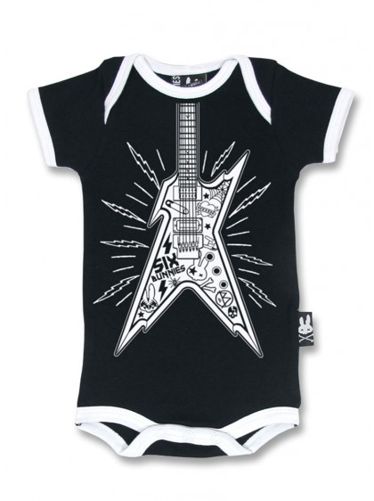"Body Bébé Rock Métal Six Bunnies ""Guitar"""