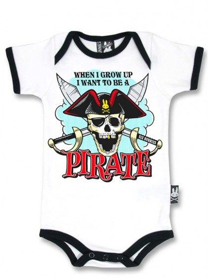 "Body Bébé Rock Métal Six Bunnies ""Pirate"" - rockangehell.com"