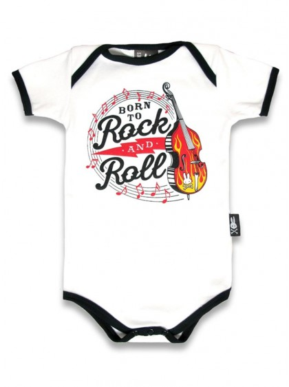 "Body Bébé Rock Rockabilly Six Bunnies ""Born To Rock And Roll"" - rockangehell.com"