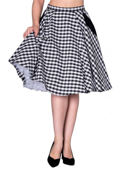 "Jupe Pin-Up Rockabilly Swing Sheen ""Bella Vichy"" - rockangehell.com"
