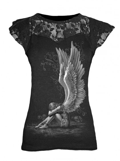 "T-shirt femme gothique, dark wear Spiral ""Enslaved angel"" - rockangehell.com"