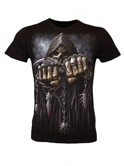 "Tee-shirt Rock Gothique homme Spiral ""Game Over"" - rockangehell.com"