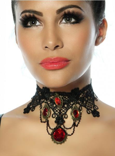 Collier ras du cou Gothique Lolita Red Stones - rockangehell.com