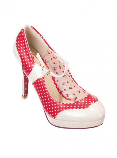 "Chaussures Escarpins Pin-Up Vintage Rockabilly Banned ""Mary Jane Red"" - rockangehell.com"