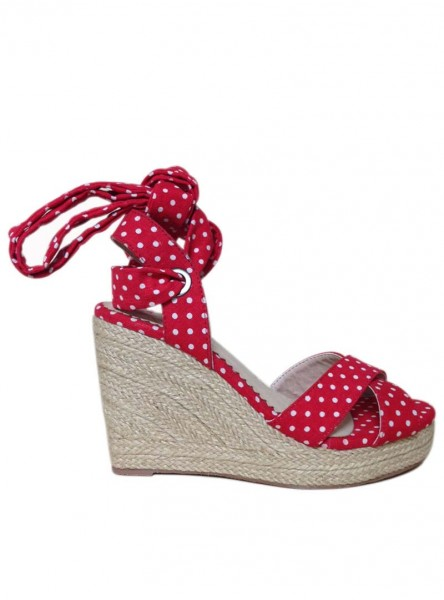 "Chaussures Espadrilles Wedge Nu-Pieds Pin-Up Rockabilly Vintage Banned ""Poppie Red"" - rockangehell.com"
