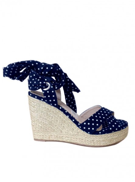 "Chaussures Espadrilles Wedge Nu-Pieds Pin-Up Rockabilly Vintage Banned ""Poppie Blue"""