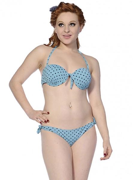 "Maillot de bain 2 pièces Bikini Rockabilly Vintage Retro Banned ""Blue Black Dots"" - rockangehell.com"