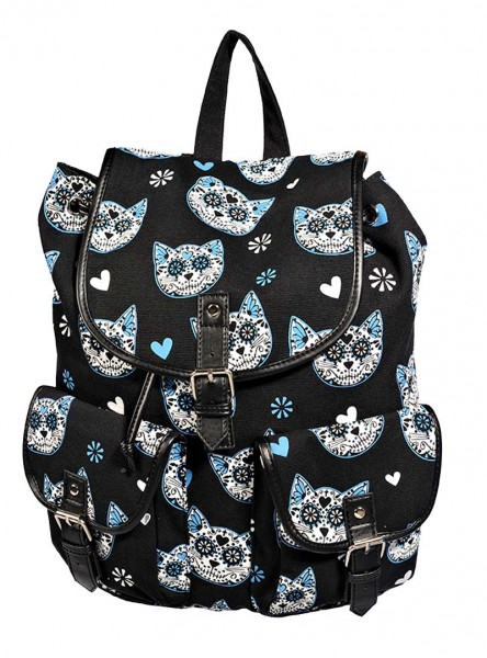 "Sac à dos Rockabilly Kawaii Banned ""Blue Kittie"" - rockangehell.com"