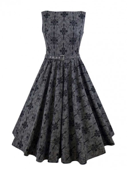 "Robe Gothique Rockabilly Chicstar ""Audrey Grey Brocart""- rockangehell.com"