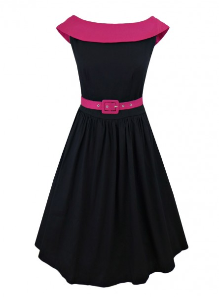 "Robe mi-longue Pin-Up Rockabilly Swing Dolly And Dotty ""Cindy Black Pink"""
