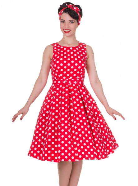 "Robe mi-longue Vintage Pin-Up Rockabilly Dolly And Dotty ""Annie Red Big White Dot"" - rockangehell.com"