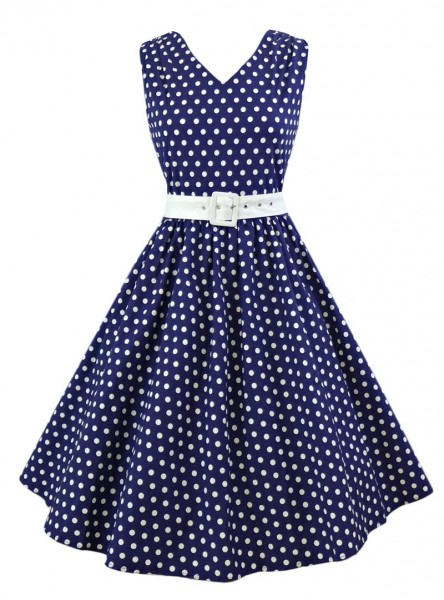 "Robe mi-longue Rockabilly Vintage Années 50 Dolly And Dotty ""Wendy Blue"" - rockangehell.com"