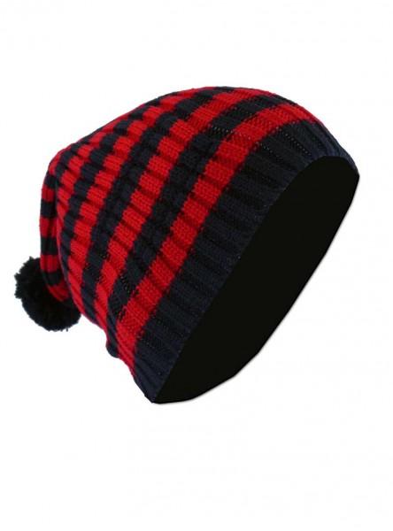 """Bonnet Punk Rock noir/rouge Vixxsin (Evil Clothing) """"Red Stripes"""""""
